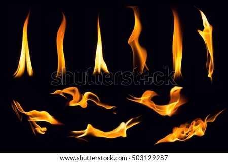 Fire flames on black background,Flames of Fire in a fireplace,fire flame,fire flame close up #503129287