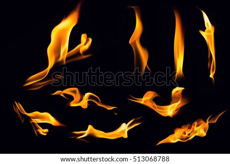 Fire flames on black background,Flames of Fire in a fireplace,fire flame,fire flame close up #513068788
