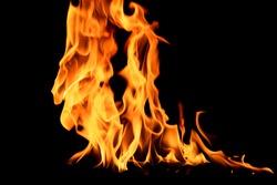 Fire flames on black background. Orange Flame .