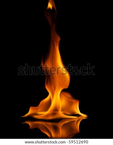 Fire flames reflected in water