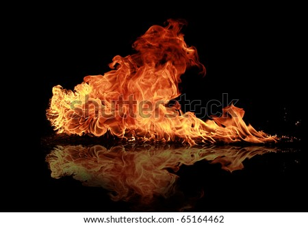 Fire flames with reflection