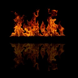 Fire flames with space for text on a black background
