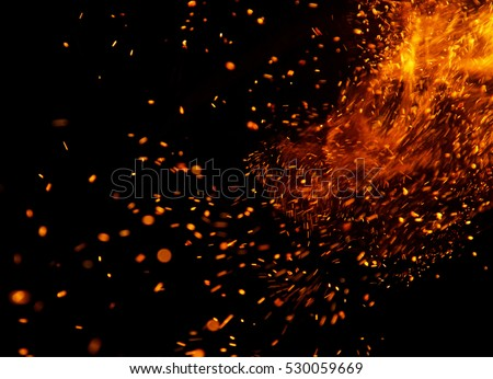 fire flames with sparks on a...