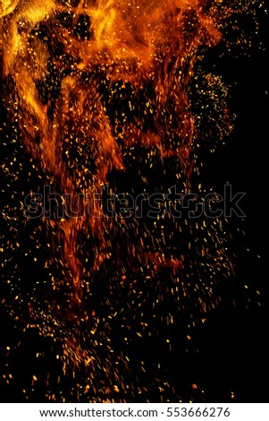 fire flames with sparks on a black background #553666276