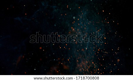 fire flames with sparks on a black background, close-up Foto stock ©