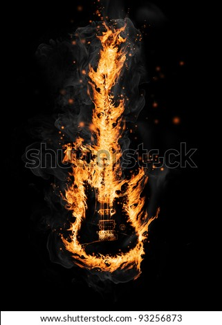Fire guitar, isolated on white background - stock photo