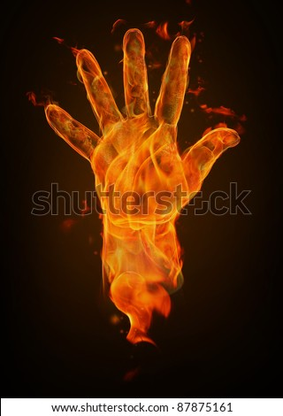 Fire hand - stock photo