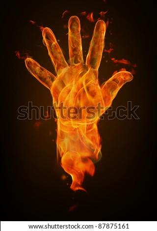 Fire hand - stock photo