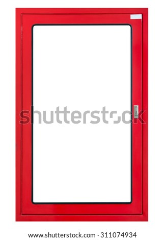 Fire hose cabinet frame isolated, on white background