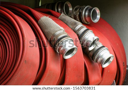 Fire hose on fire engine in the UK