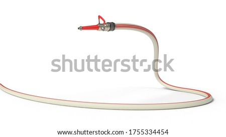 fire hose with modern nozzle. isolated on white background. 3d illustration, suitable for firefighter, fire and hose themes.