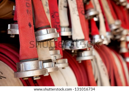 Fire hoses at fire station