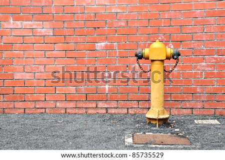 Fire hydrant at wall building use for fire brigade