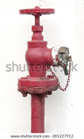 Fire hydrant detail. This fire hydrant is located in a ship.