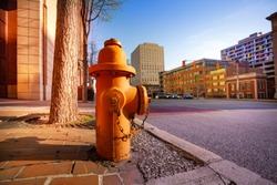 Fire hydrant on sidewalk of Baltimore city, USA