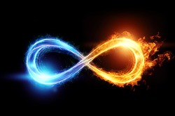 Fire ice infinity sign isolated on black background. 3D illustration, 3D render