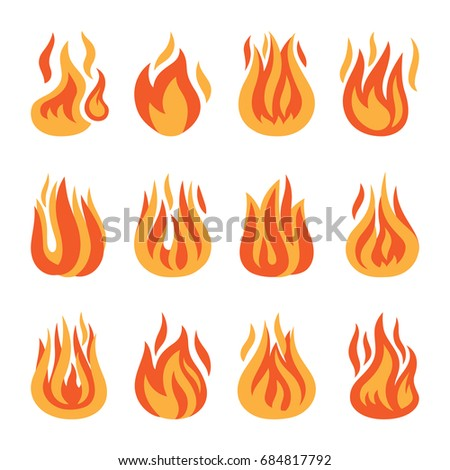 Fire icons. fire flame silhouette set isolated on white background