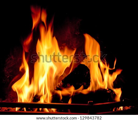 Fire in a fireplace.