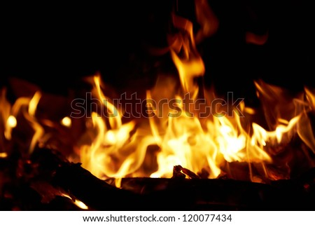Fire in fireplace. Abstract bonfire with flame