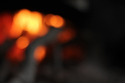 fire in nature. bokeh from the fire. blurred backgrounds.