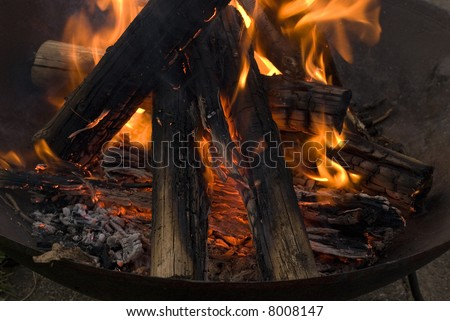 Fire in outdoor fire place