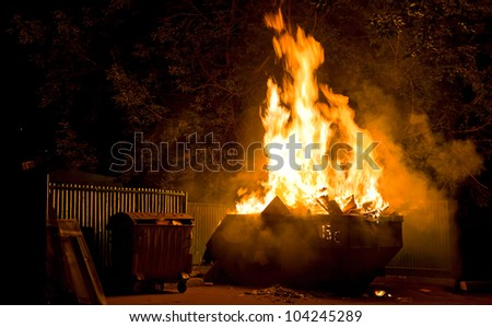 Fire in the city night: burning trash container