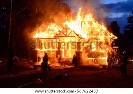 Fire in the house stock photo
