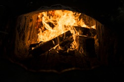 Fire in the kiln burning.