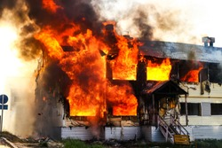 Fire in the old wooden house