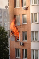 fire in the window of building