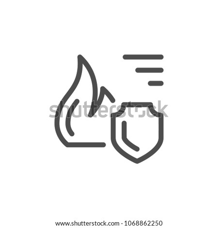 Fire insurance line icon isolated on white
