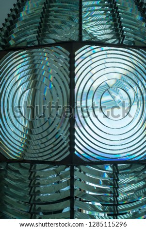 Fire Island, New York. Close up of the Antique Fresnel lighthouse beacon. #1285115296