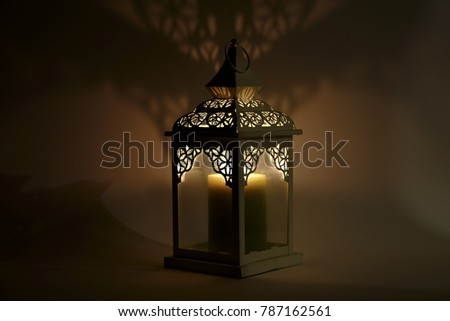 fire lantern in whte background with lights and shadow #787162561