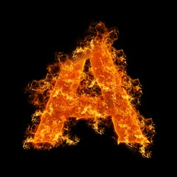 Fire letter A on a black background