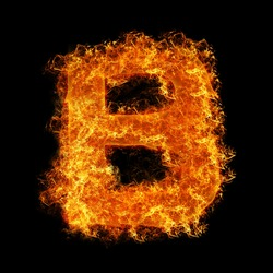 Fire letter B on a black background