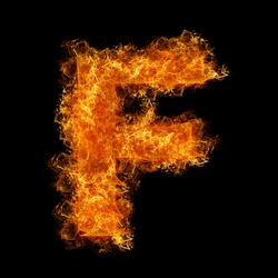 Fire letter F on a black background