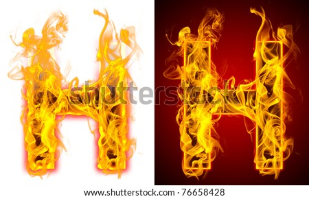 Fire letter H on a red and white background