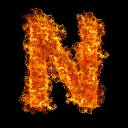 Fire letter N on a black background