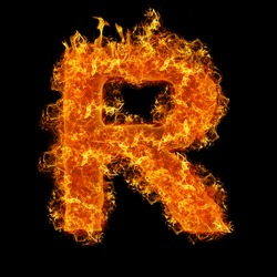 Fire letter R on a black background
