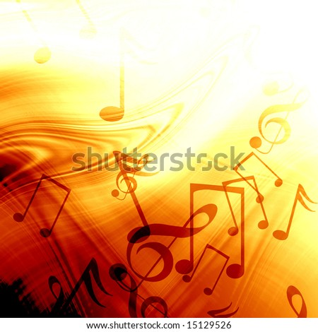 fire like abstract background with music notes