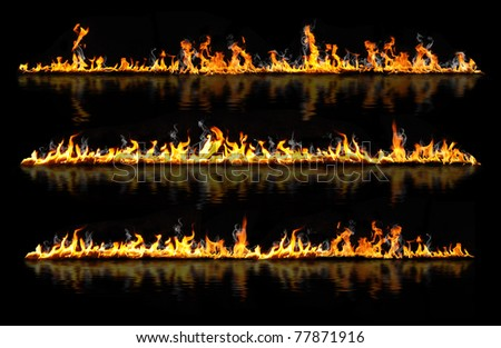 fire lines reflected in water