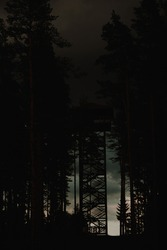 fire lookout tower illusion in a dark dramatic forest with a dark sky before a storm