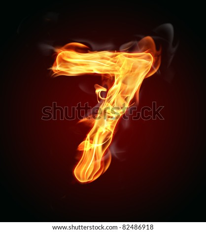 """Fire number """"7"""" - stock photo"""