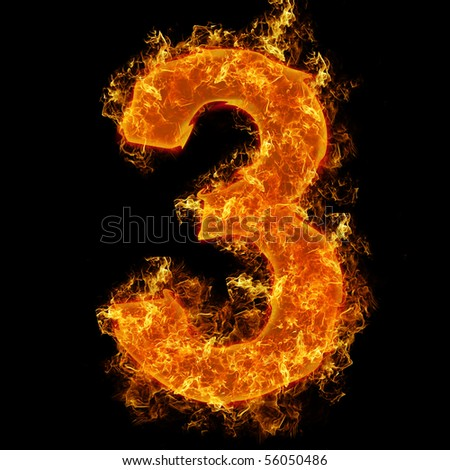 Fire number 3 on a black background - stock photo
