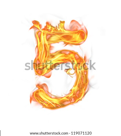 """Fire number """"5"""" isolated on white background - stock photo"""