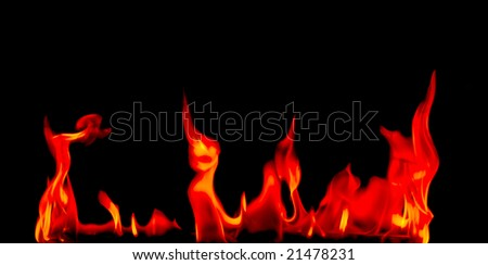 Fire on a black background.See my portfolio with similar photos.