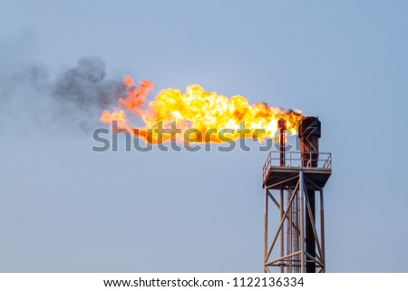 Fire on flare blow out in Offshore oil and Gas central processing platform and remote platform produced oil, natural gas and liquid condensate for set to onshore refinery from offshore in ocean sea. #1122136334