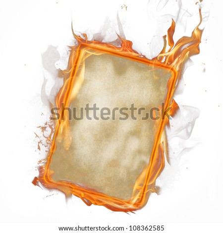 Fire paper over white
