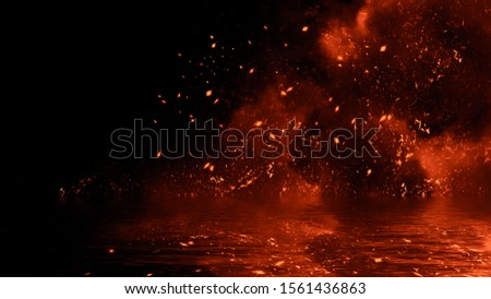 Fire particles effect dust debris isolated on black background, motion spray burst with reflection in water.