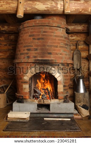 fire-place with burning firewoods